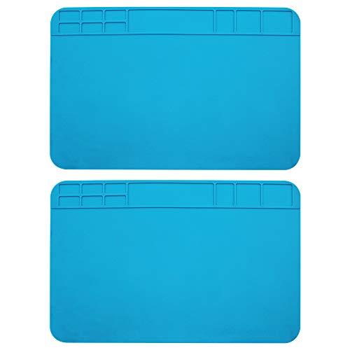 MZMing [2 Pack] Estera de soldadura 500℃ Almohadilla de soldadura resistente al calor Silicona Estación de reparación BGA Estera de Plataforma de reparación para reparar Reloj Laptop Electrónica Azul