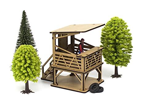 PROSCALE Maqueta decoracion accesorios Scalextric original - Edificio diorama decoracion circuitos coches slot car 1 32 kit modelismo maquetas madera para montar construir adultos niños