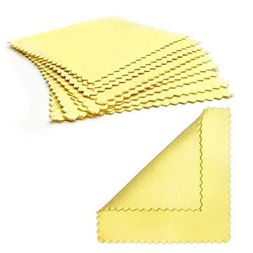 QEEQPF Paño para Limpiar Joyas de 15 Piezas Paño para pulir Amarillo a Prueba de Herrumbre Paño para Limpiar Joyas de Perla Pura, Oro, Platino y Plata, 8 x 8 cm