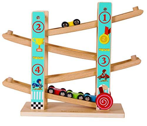 TOWO Juguete Rampa Coches Madera pura-corredera para autos en zig zag-click clack track Pista Carreras circuitos-juguetes para autos niños pequeños-juguetes para autos de carreras niños niñas 1 2 3 4