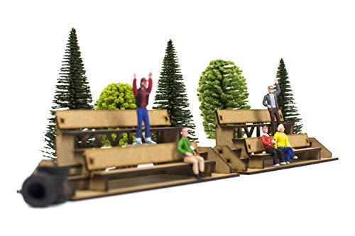 PROSCALE Mini gradas accesorios Scalextric - Maqueta decoracion original circuitos coches slot car 1 32 kit modelismo maquetas madera para montar construir adultos niños